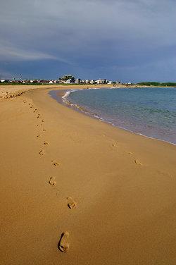 這張照片是走到沙灘最西方處,往東拍攝沙灘全貌,海潮線的弧形看起來就十分賞心悅目